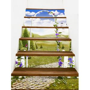 Secret Garden Scenery Printed Staircase Stickers -