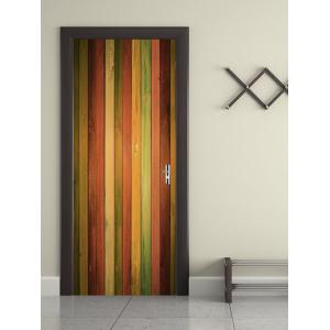 Colorful Wood Grain Printed Door Stickers -