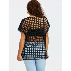 Plus Size Sheer Lattice Cut T-shirt -