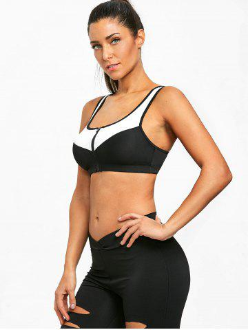 Racerback Zip Front Two Tone Sports Bra