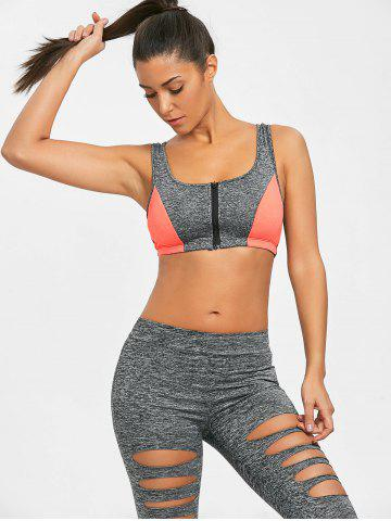 Racerback Zip Up Sports Bra
