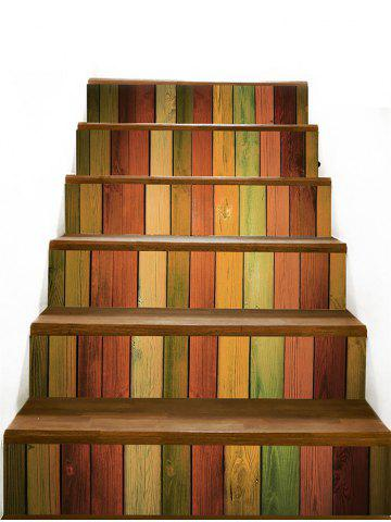 Trendy Colored Wood Board Pattern Stair Stickers