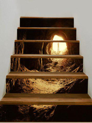 Buy Man and Mountain Cave Print Decorative Stair Stickers
