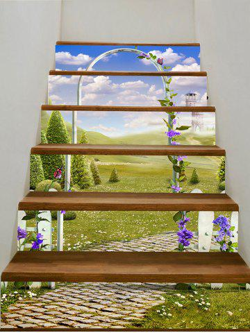 Trendy Secret Garden Scenery Printed Staircase Stickers