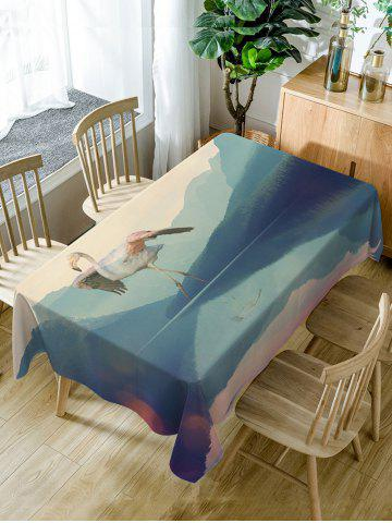 Chic Flamingo Print Fabric Waterproof Dining Table Cloth