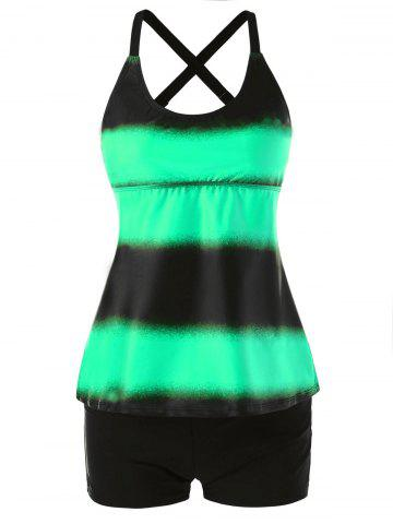 Shop Plus Size Color Block Multi Strap Back Tankini