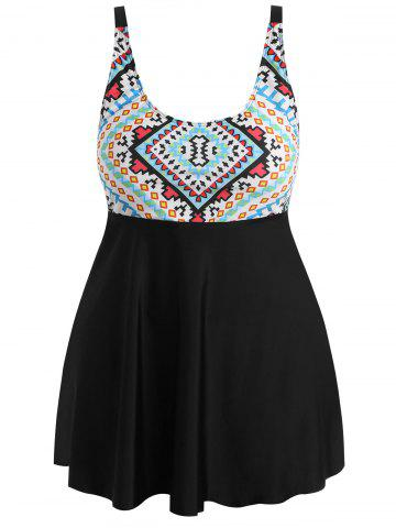 Best Plus Size Geometric Skirted Tankini Set