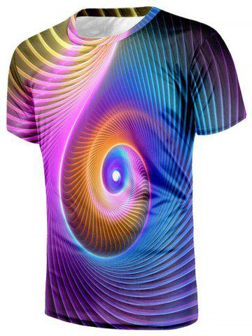 Sale Swirl Vibrant Color 3D Print T-shirt