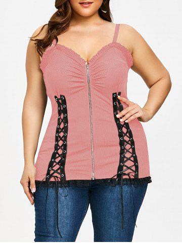 Affordable Criss Cross Zip Up Plus Size Slip Top