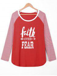 Plus Size Faith Over Fear Raglan Sleeve Tee -