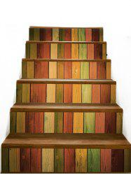 Colored Wood Board Pattern Stair Stickers -
