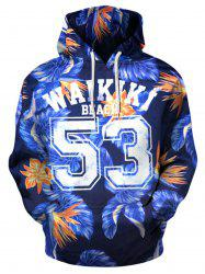 3D Florals and Graphic Pattern Pullover Hoodie -