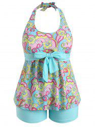 Plus Size Flower Print Halter Tankini Set -
