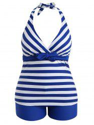 Plus Size Striped Backless Tankini Set -