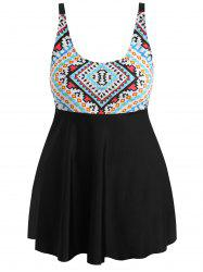 Plus Size Geometric Skirted Tankini Set -