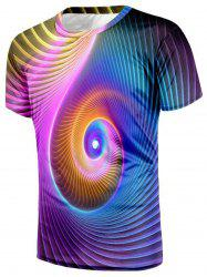 T-shirt Imprimé Tourbillon Coloré 3D -