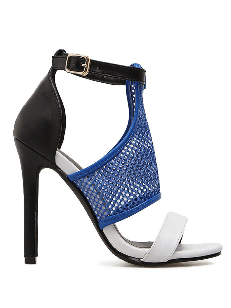 52df27a8a25 2019 Mesh Detail Ankle Strap Roman Style High Heel Sandals