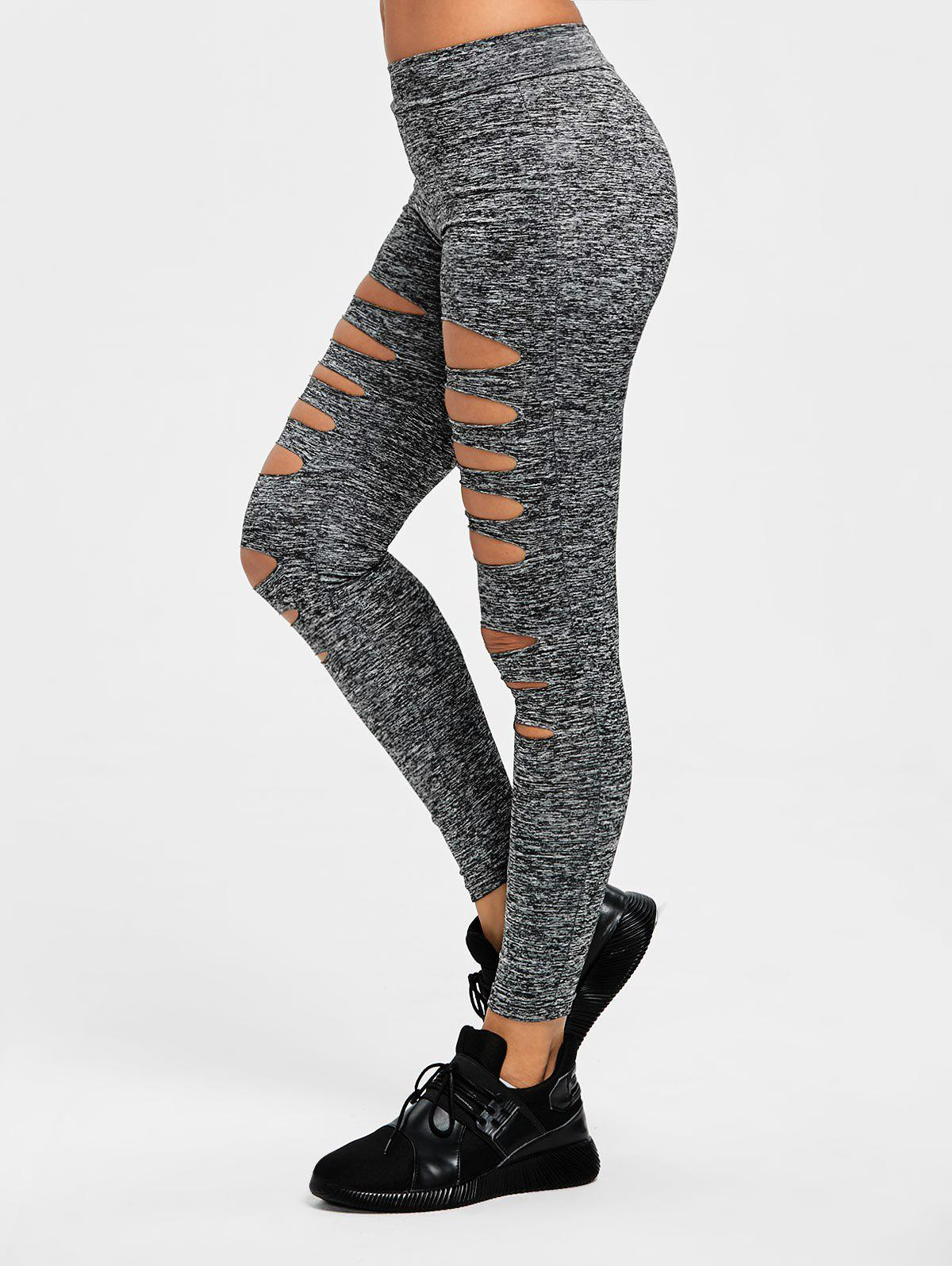Cheap Marled Ladder Shredding Gym Leggings