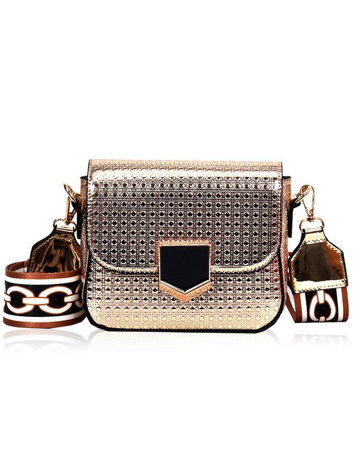 Chic Printed Strap Embossed Crossbody Bag