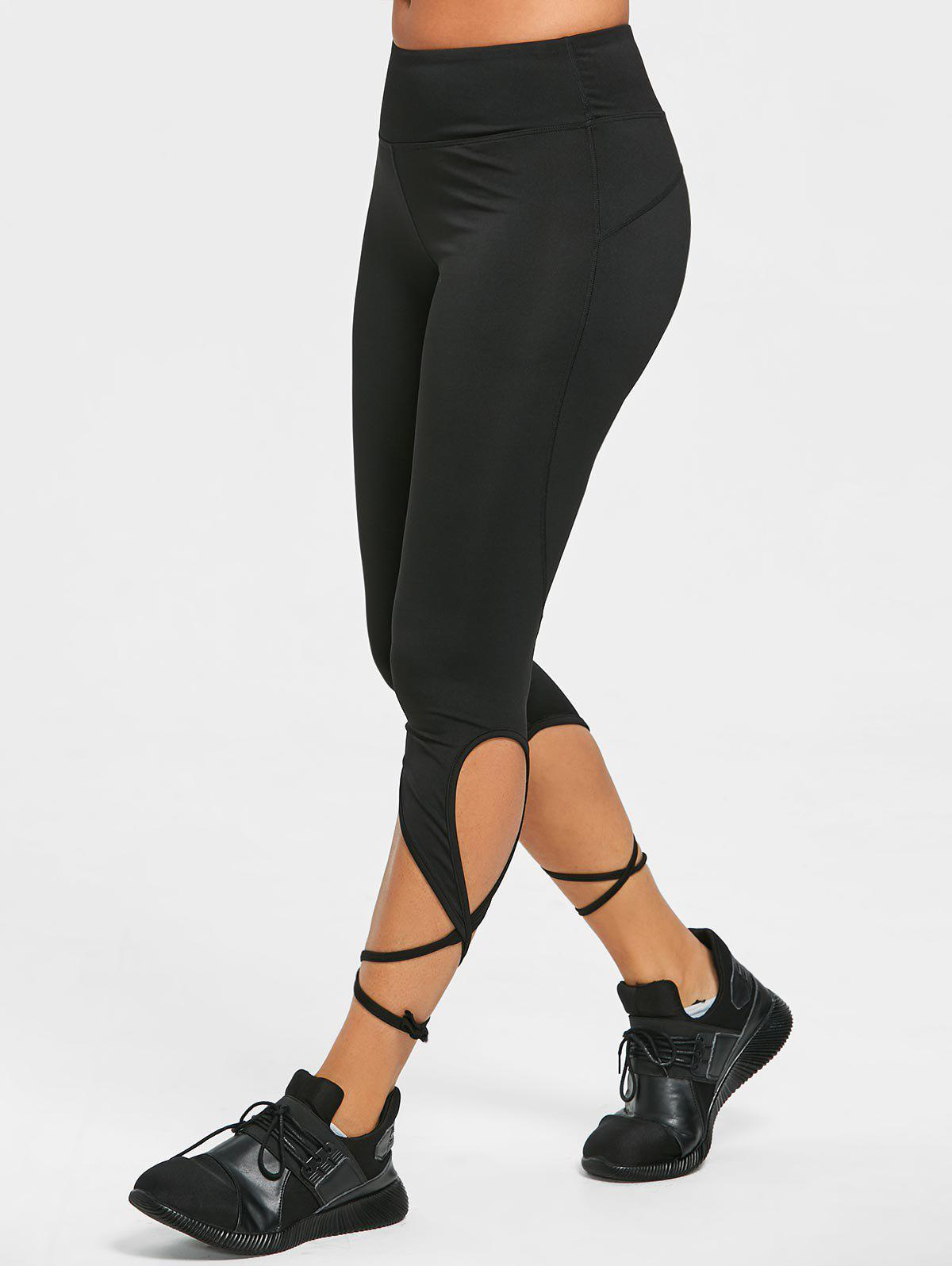 Store Wrap Tie Cropped Active Leggings