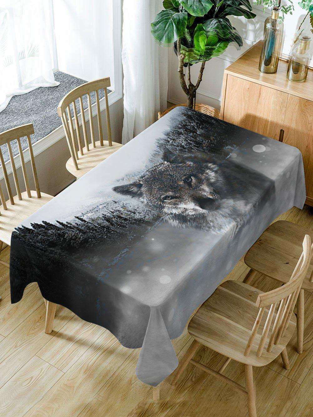 Cheap Wolf Print Fabric Waterproof Dining Table Cloth