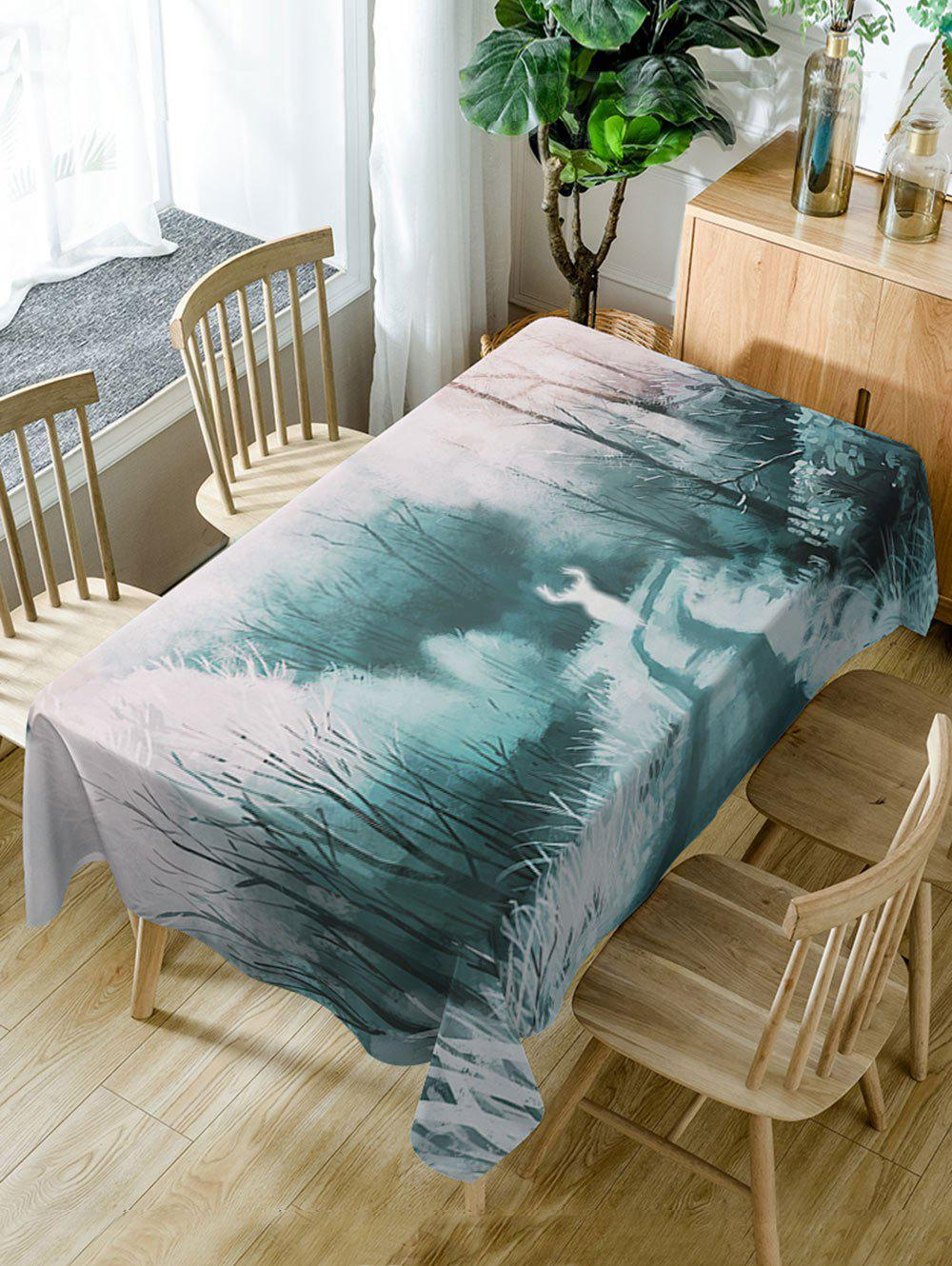 Affordable Forest Deer Print Fabric Waterproof Dining Table Cloth