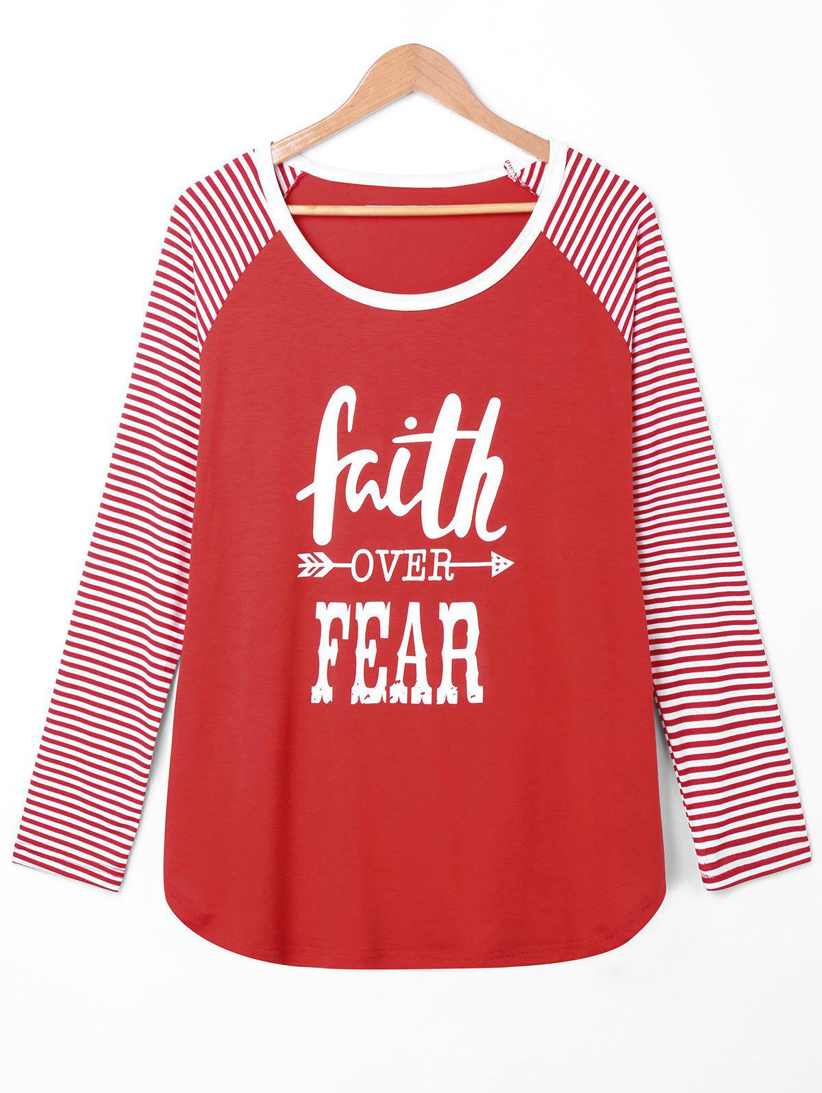 Outfits Plus Size Faith Over Fear Raglan Sleeve Tee