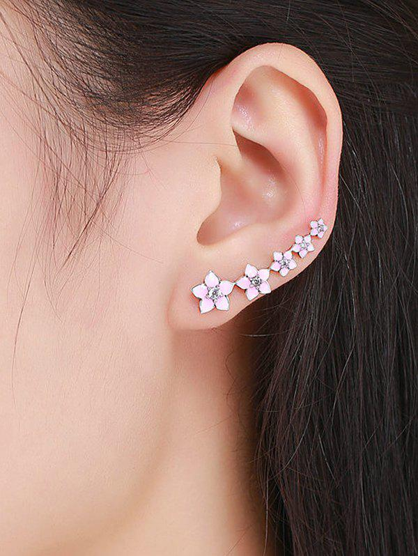 Fashion Sterling Silver Rhinestoned Flower Ear Cuffs