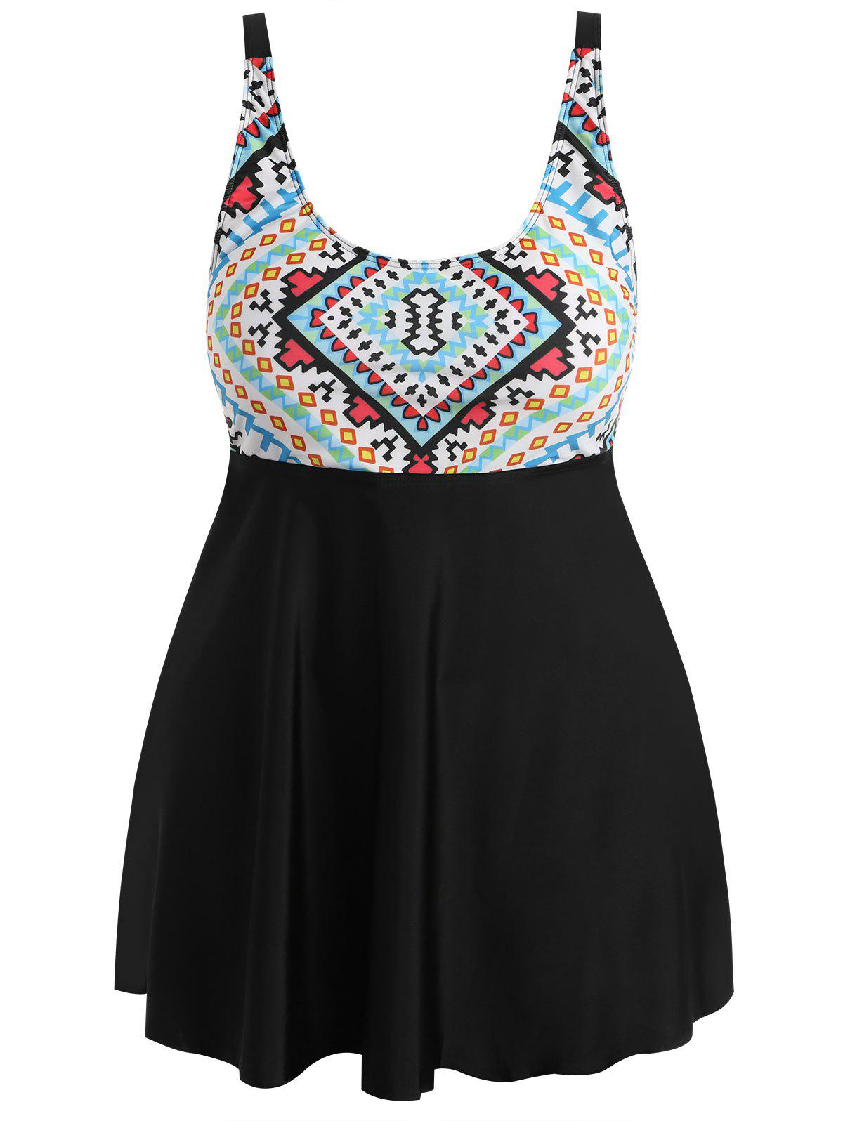 Affordable Plus Size Geometric Skirted Tankini Set
