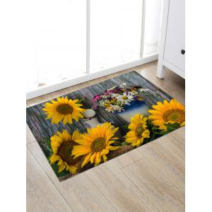 Flower Board Print Water Absorption Area Rug -
