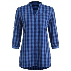 Stand Collar Gingham Tunic Shirt -