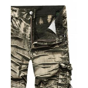 Straight Leg Bleach Wash Cargo Pants -