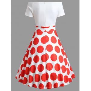 Off Shoulder Polka Dot Flare Dress -