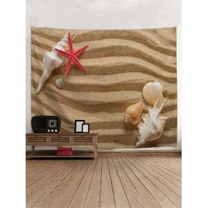 Sand Conch Starfish Print Wall Art Tapestry -