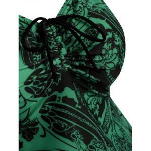Plus Size Paisley Flower Print Tankini Set -
