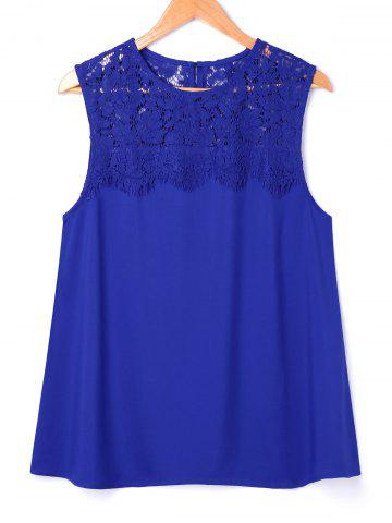 Trendy Lace Panel Sleeveless Blouse