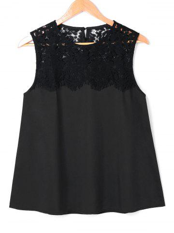 Outfit Lace Panel Sleeveless Blouse