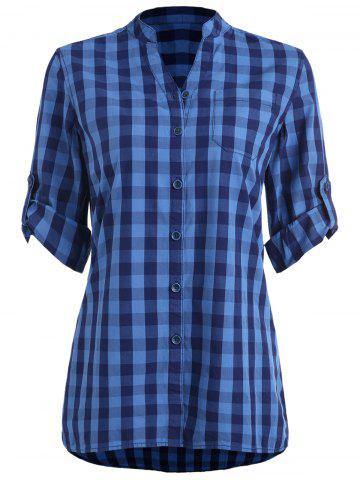 Outfit Stand Collar Gingham Tunic Shirt