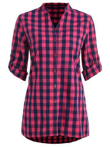 Affordable Stand Collar Gingham Tunic Shirt