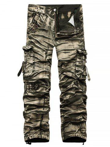 Sale Straight Leg Bleach Wash Cargo Pants