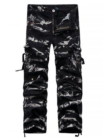 Trendy Straight Leg Bleach Wash Cargo Pants