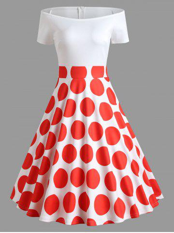 Latest Off Shoulder Polka Dot Flare Dress