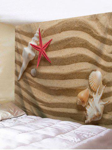 Trendy Sand Conch Starfish Print Wall Art Tapestry