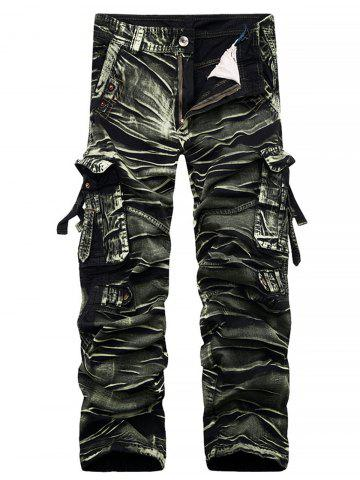 Straight Leg Bleach Wash Cargo Pants