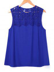 Lace Panel Sleeveless Blouse -