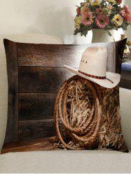 Cowboy Hat Wood Plank Square Pillow Case -