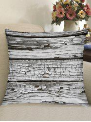 Rotten Wooden Board Printed Throw Pillow Case -