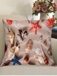 Beach Starfishes Shells Printed Pillow Case -