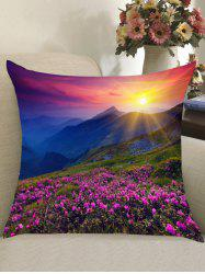 Morning Sunlight Lavender Grassland Print Pillow Case -