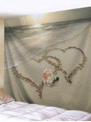 Beach Joint Heart Flowers Bunch Print Tapestry -